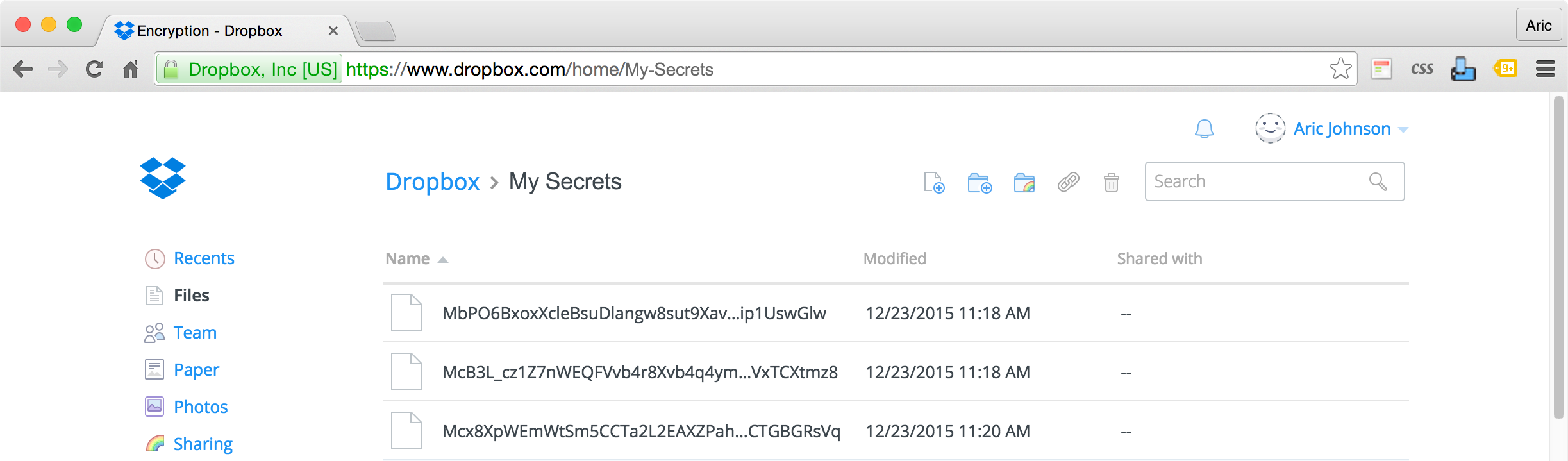 Files are encrypted in storage